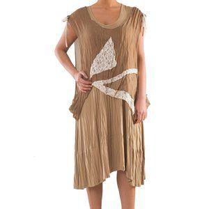 Plus Size 2 Piece Knit Linen Dress with Lace